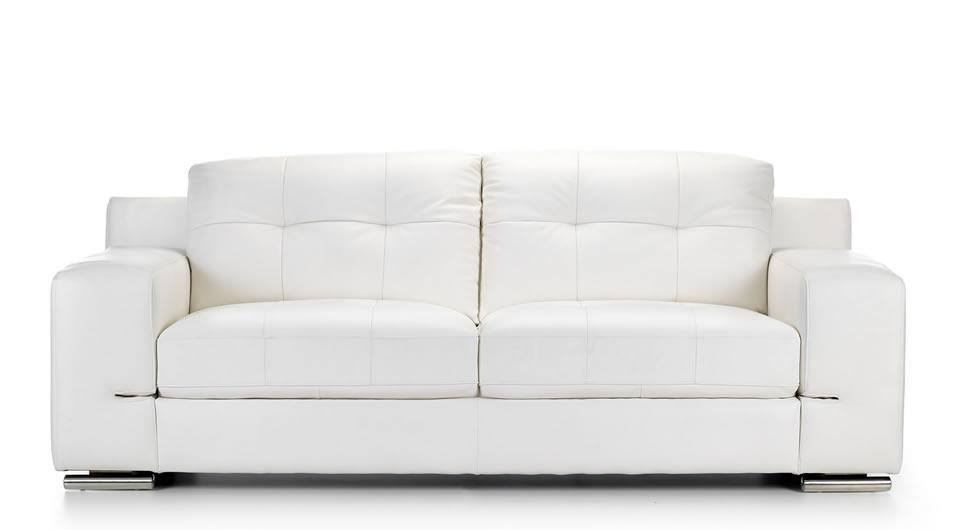 Leather 3 Seater Sofa White
