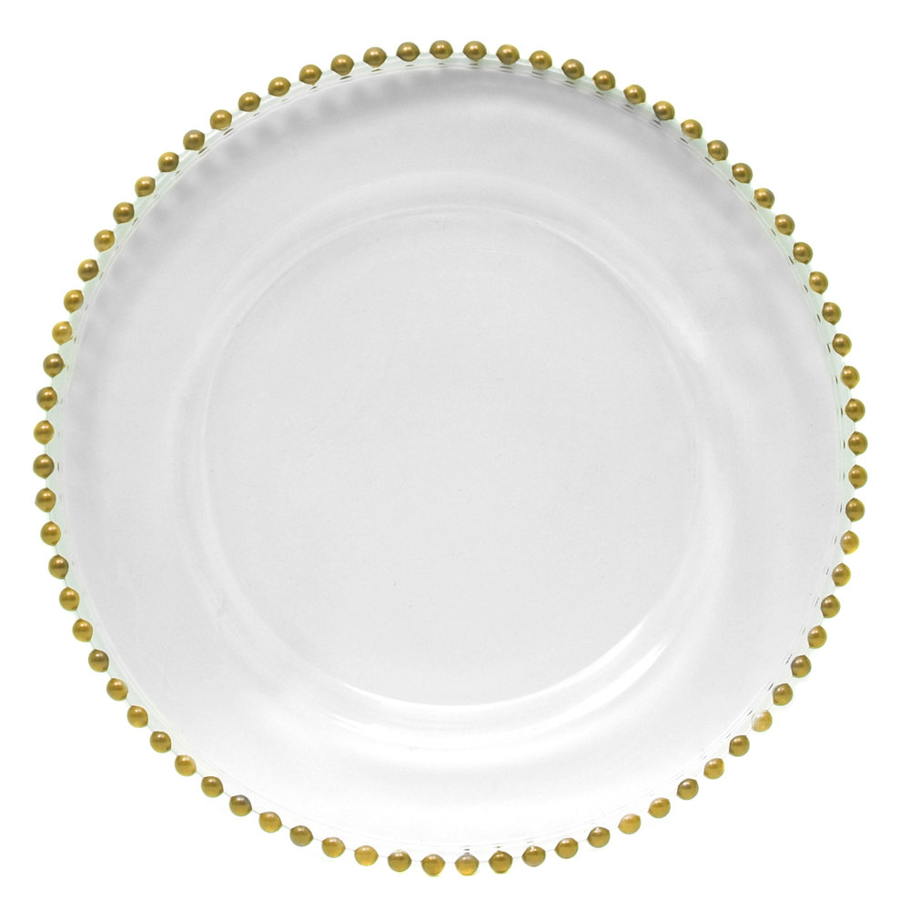 Glass Gold Beaded Charger Plate  sc 1 st  HOF Decor & Glass Gold Beaded Charger Plate u2013 H.O.F. Decor